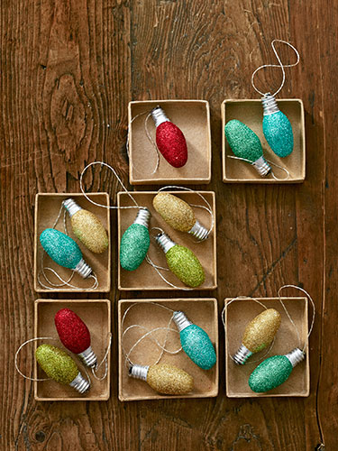 Glitter Bulb Ornaments from old night light bulbs