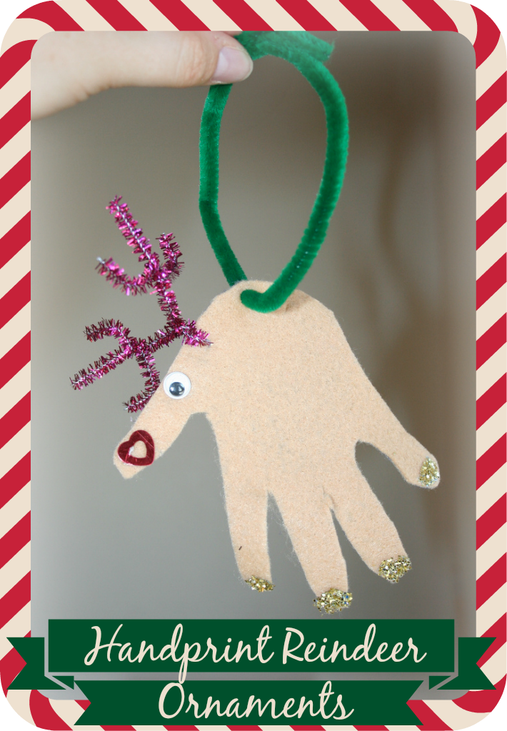 cute little handprint reindeer ornaments made with felt