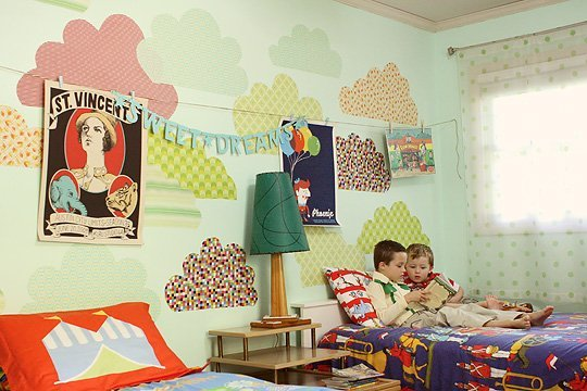 Eclectic shared room for kids