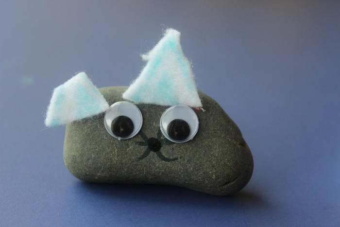 pet rock that looks like a pet - this ones a rabbit made by a 6 year old