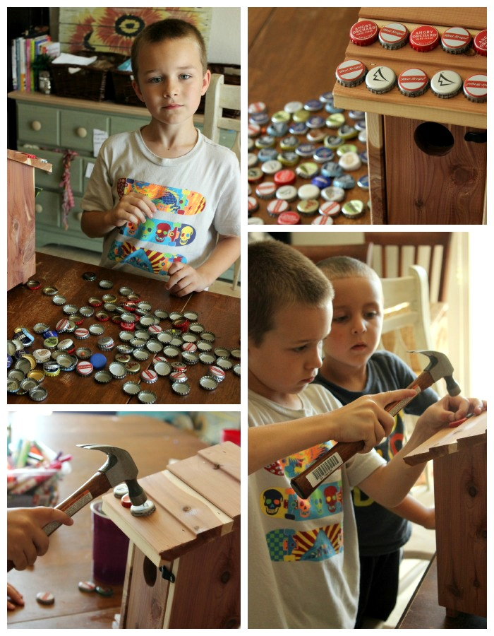 kids craft: diy bottle cap bird house
