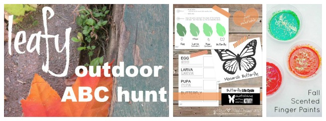 My favorite pins of the week for little people and their parents - an outdoor leaf hunt, an amazing life study printable set, and some smelly paints I can't wait to make!