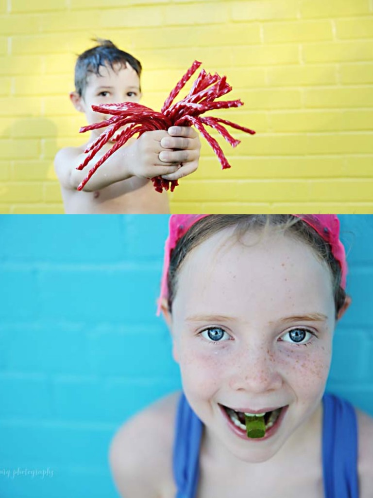 kids and candy pool party photoshoot