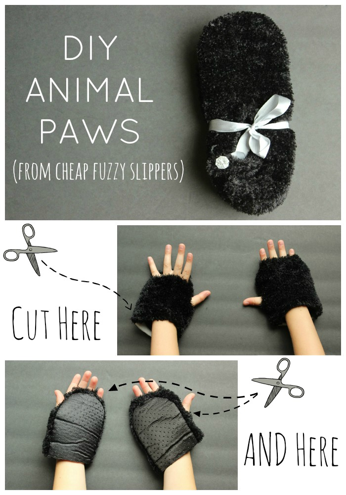 Great idea! Use cheap slippers to make furry animal paws