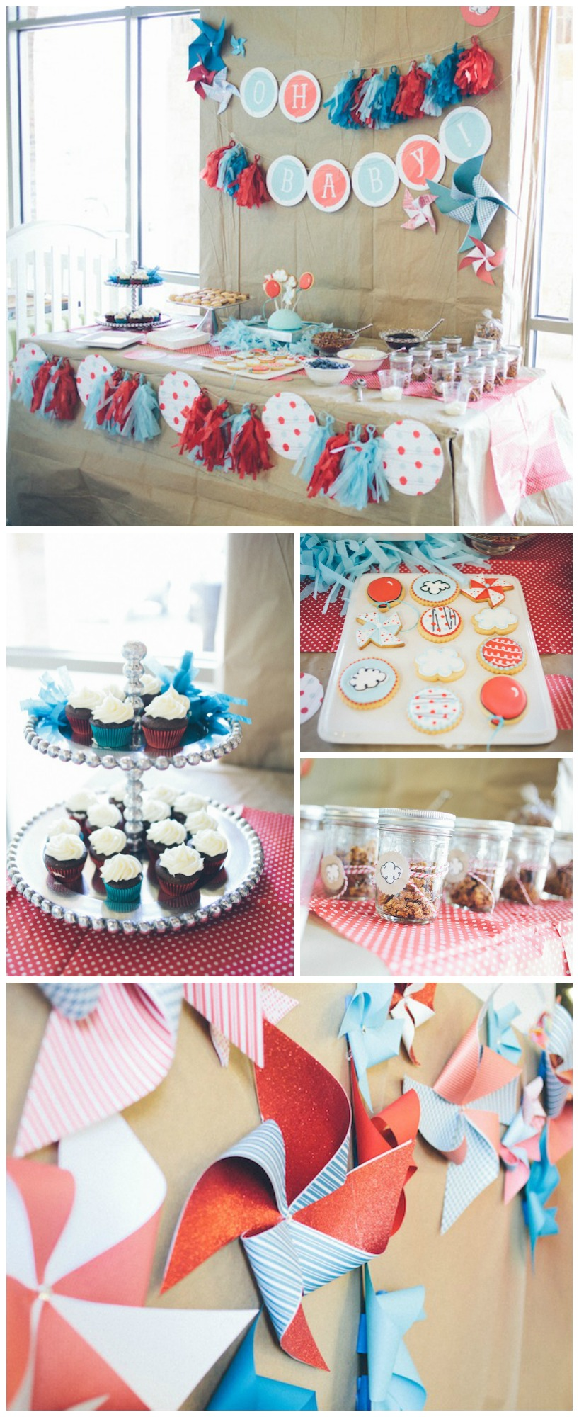 Red & Aqua Gender Neutral Baby Shower