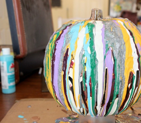Drip Painting Pumpkins with Preschoolers