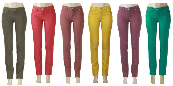 Cool colored jeans made from 8 recycled plastic bottles! #TurnItGreen