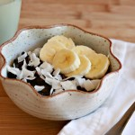Black Rice, Almond Milk, Maple Syrup, Shredded Coconut and Bananas make a delicious breakfast!
