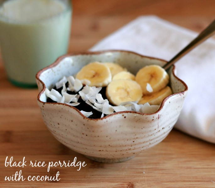 Black Rice Porridge with Bananas and Coconut