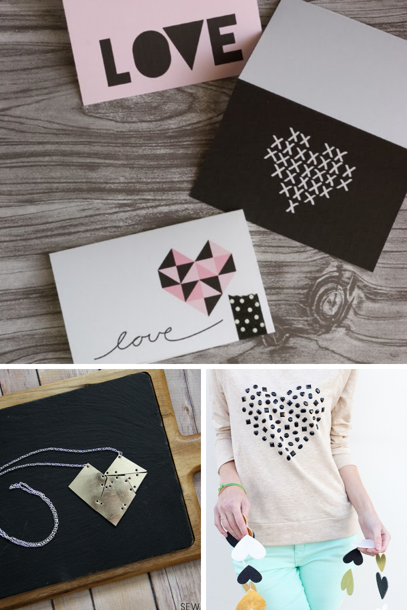 Geometric hearts are all the rage this year, here are three modern heart crafts you can make yourself!