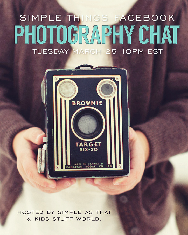 Simple Things Sunday Facebook chat - Join us to discuss photography tips and win great prizes!