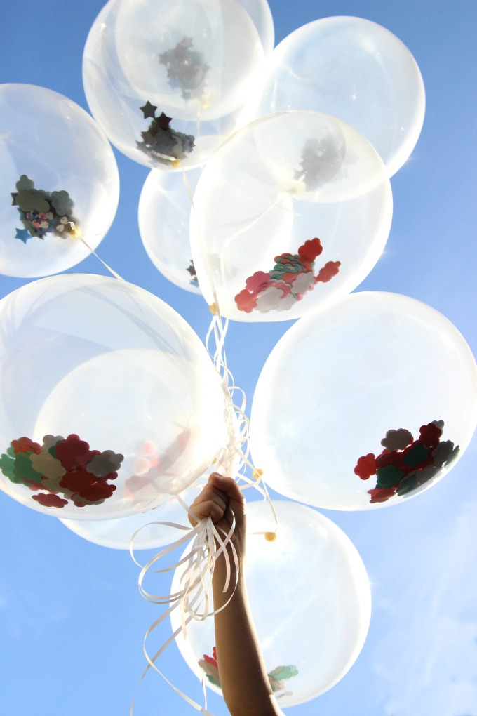 Clear balloons can be filled with all sorts of things, love this idea!