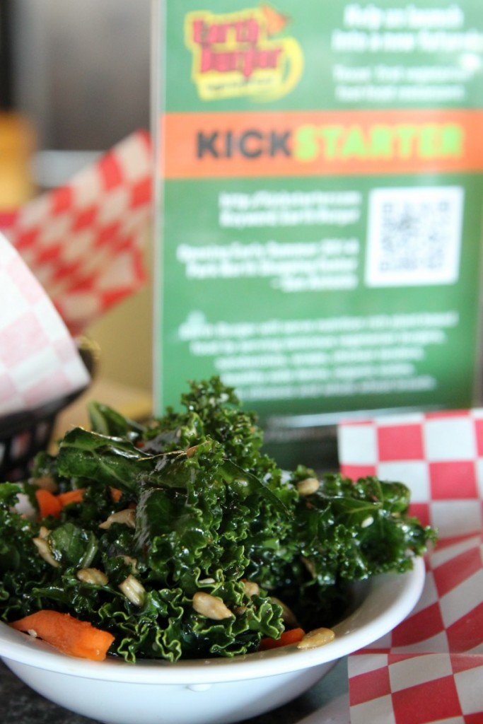 Vegetarian Fastfood Restaurant Earth Burger has healthy, tasty sides like this kale salad. I could eat this all day!