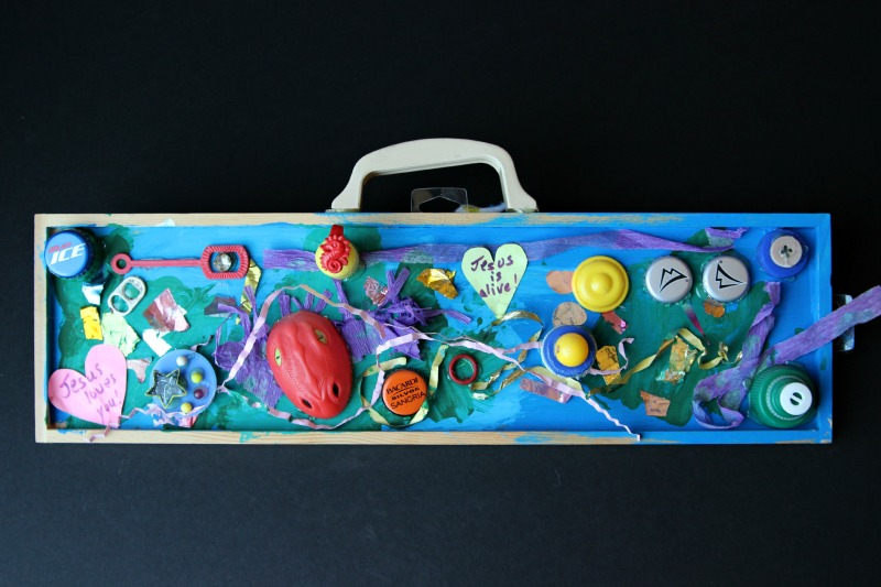 Great project for Earth Day! recycled art collage made out of items found during walks with kids