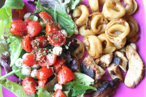 Balsamic Chicken, Toasted Tortellini and Caprese Salad