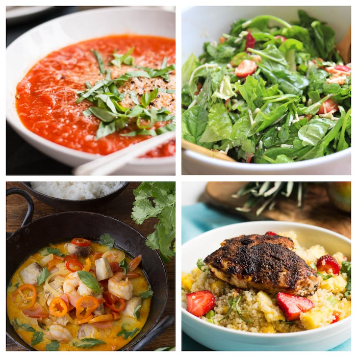 A few of the meals from this healthy meal plan