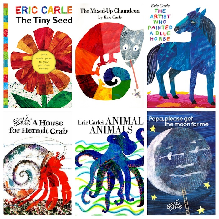Collection of colorful Eric Carle books for kids