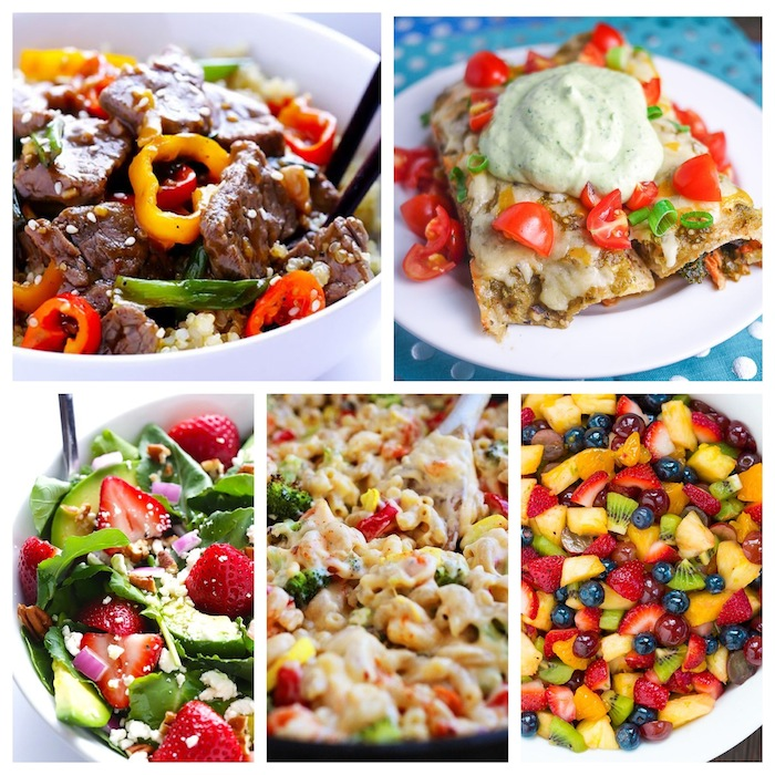 A week of meals packed with lean protein, fresh vegetables and tasty fruit. Enchiladas, Pepper Steak, Strawberry Salad, Veggie Mac and Cheese and more