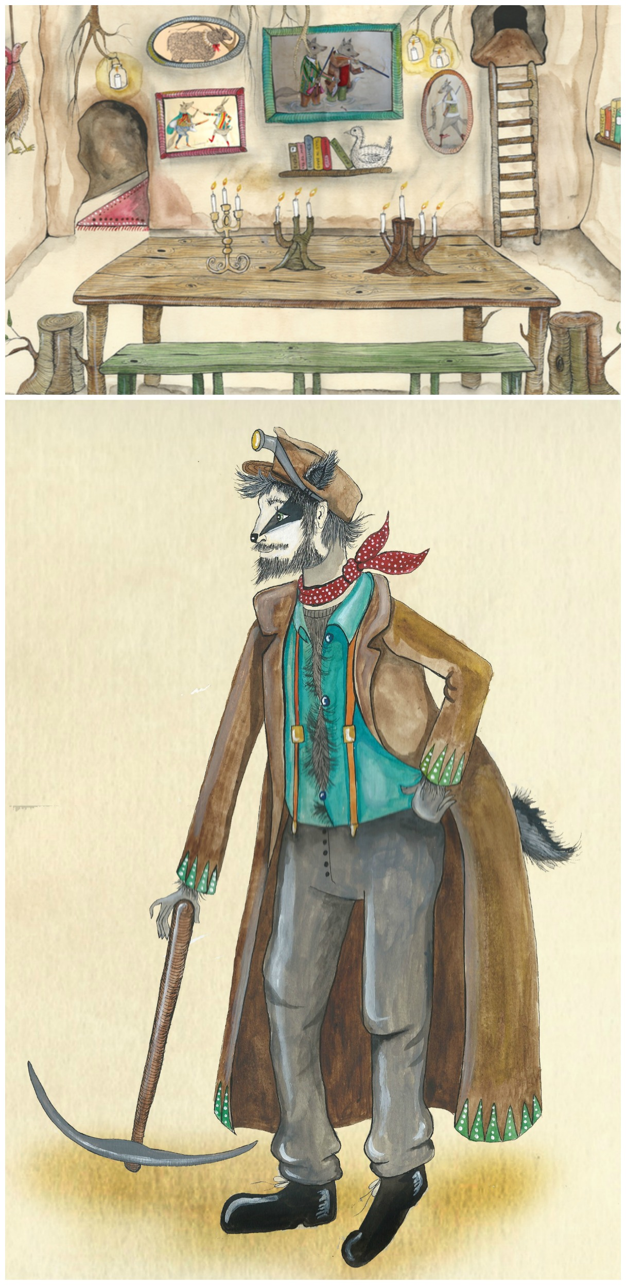 Scenes from The Fantastic Mr. Fox Opera as depicted by Illustrator, Emily Woodard