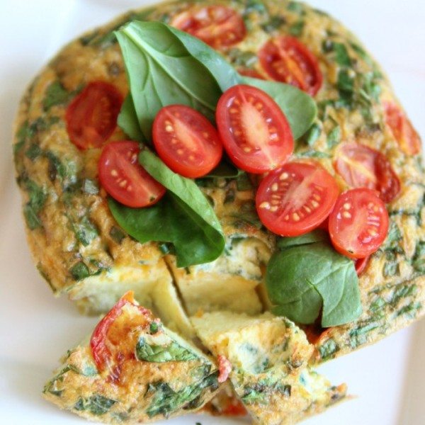 A Greek Inspired Frittata with Spinach, Tomato and Feta Cheese