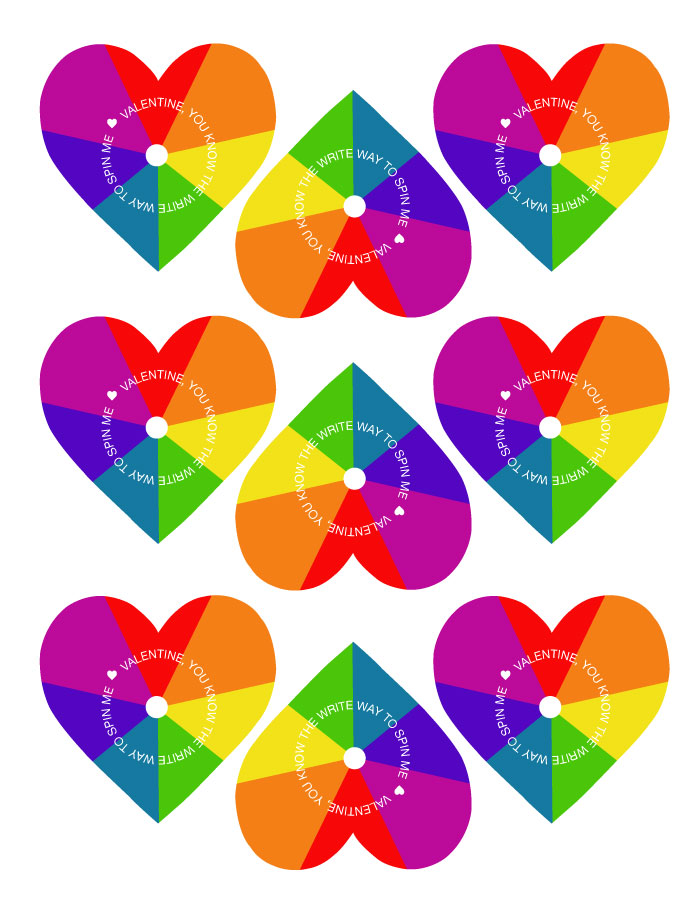 Free Rainbow Printable Valentines Heart Spinners - these make the perfect non-candy Valentines!