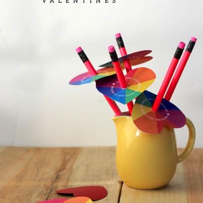 Heart Spinner Rainbow Printable Valentines