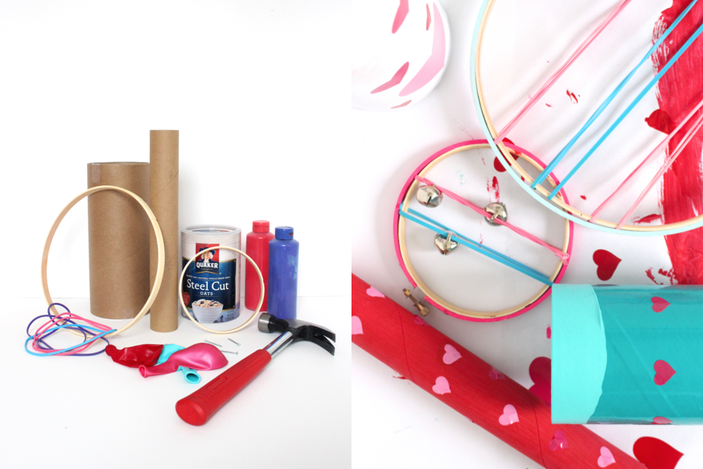 everything you need to make your own musical instruments for kids, lots of recyclables