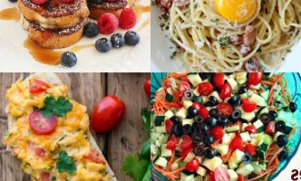 A weekly meal plan with thai chicken tender, french toast, pasta carbonara and more