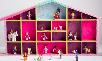 Clever Upcycling Project! $3 Goodwill find turns colorful Lego Friends display storage / dollhouse