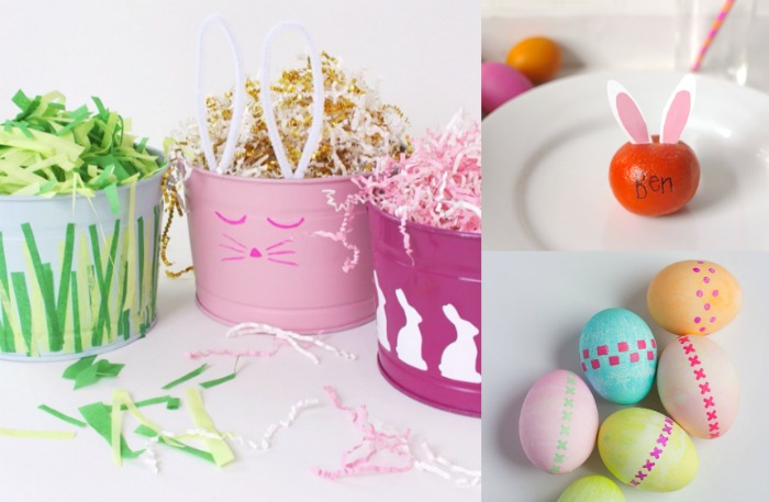 Create custom Easter baskets by painting over old ones ... why didnt I think of that!