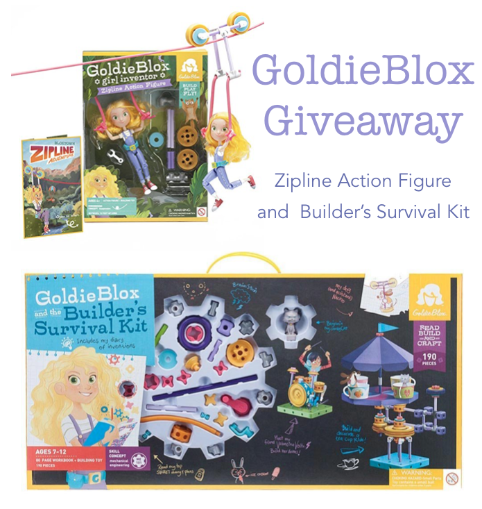 Enter to win a GoldieBlox prize pack worth $85, the GoldieBlox Zipline Action Figure and the Builder's Survival Kit today on Kids Stuff World