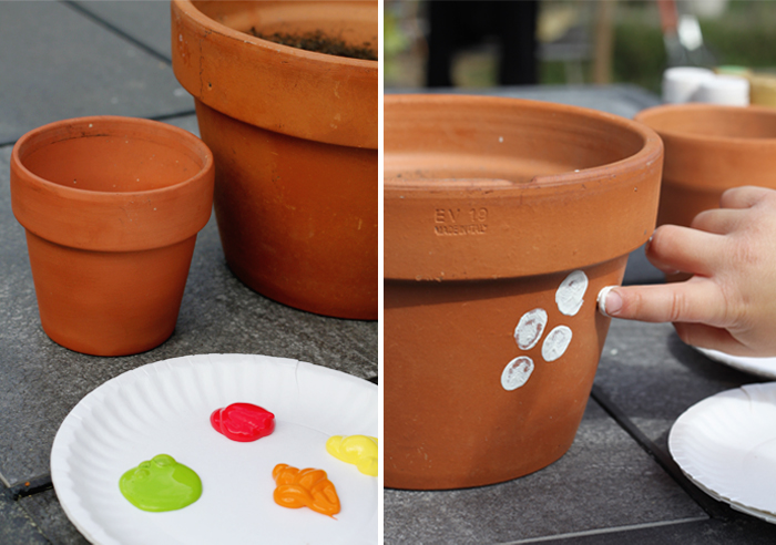 how to finger paint a pot, excellent craft idea to do with the kids