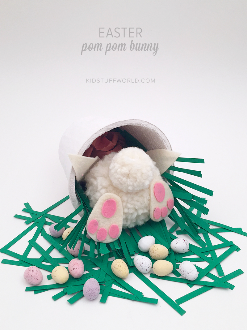 How cute is this pom pom bunny bottom?! Would make a great kids table centerpiece