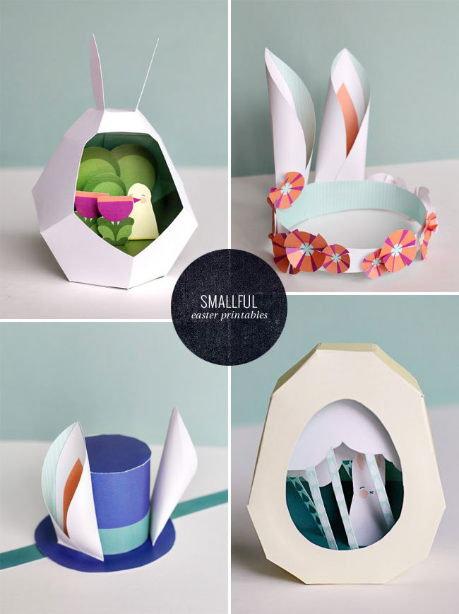 Smallful is my favorite stop for printables and kids activities. Look at all this cuteness for Easter, those eggs would make great centerpieces of even additions to an Easter basket