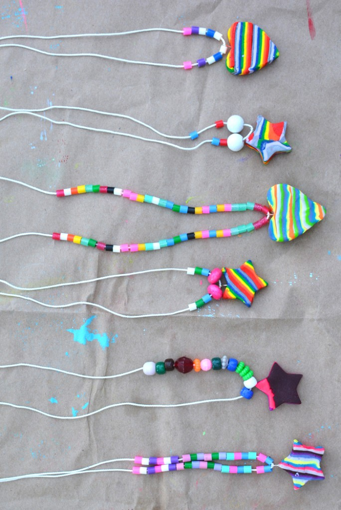 Teach kids how to make a rainbow necklace using colored clay