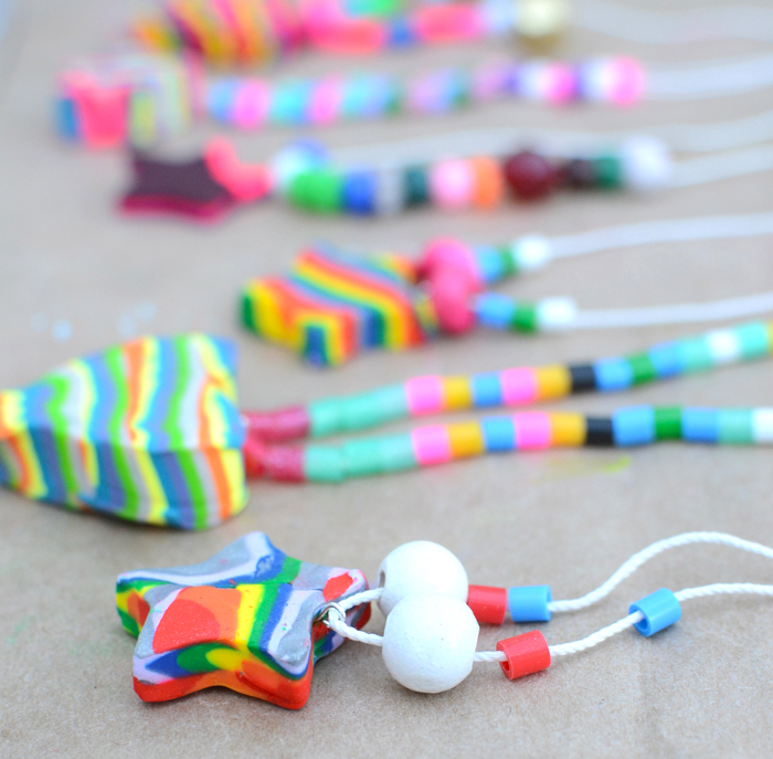 How cute are these colorful kids necklaces made from Sculpey, would make a great summertime or party activity