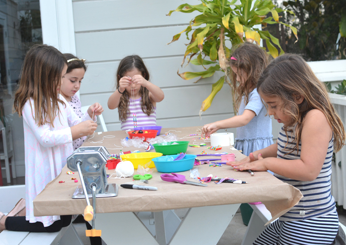 Kids art party! Love the colorful necklaces they made