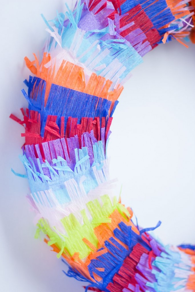 Cinco De Mayo Decor: Such a great idea using fringed crepe paper to make a colorful fiesta wreath