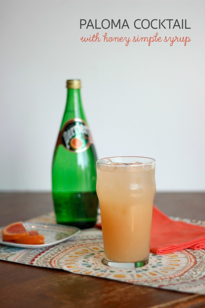 Great recipe for a paloma cocktail (a refreshing grapefruit cocktail with tequila) using honey simple syrup