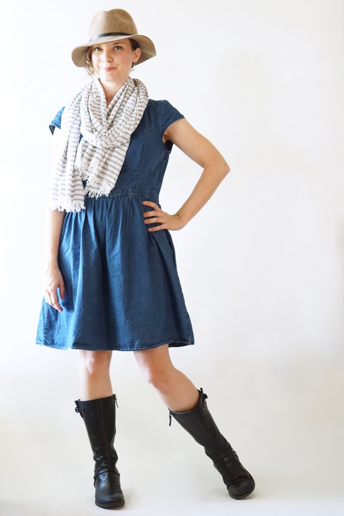 Who says you can't wear your favorite summer dress this fall? Add a fun scarf, a cute add and some great boots for an easy transition look from summer to fall. Modeled by Amy of MakerMama.com