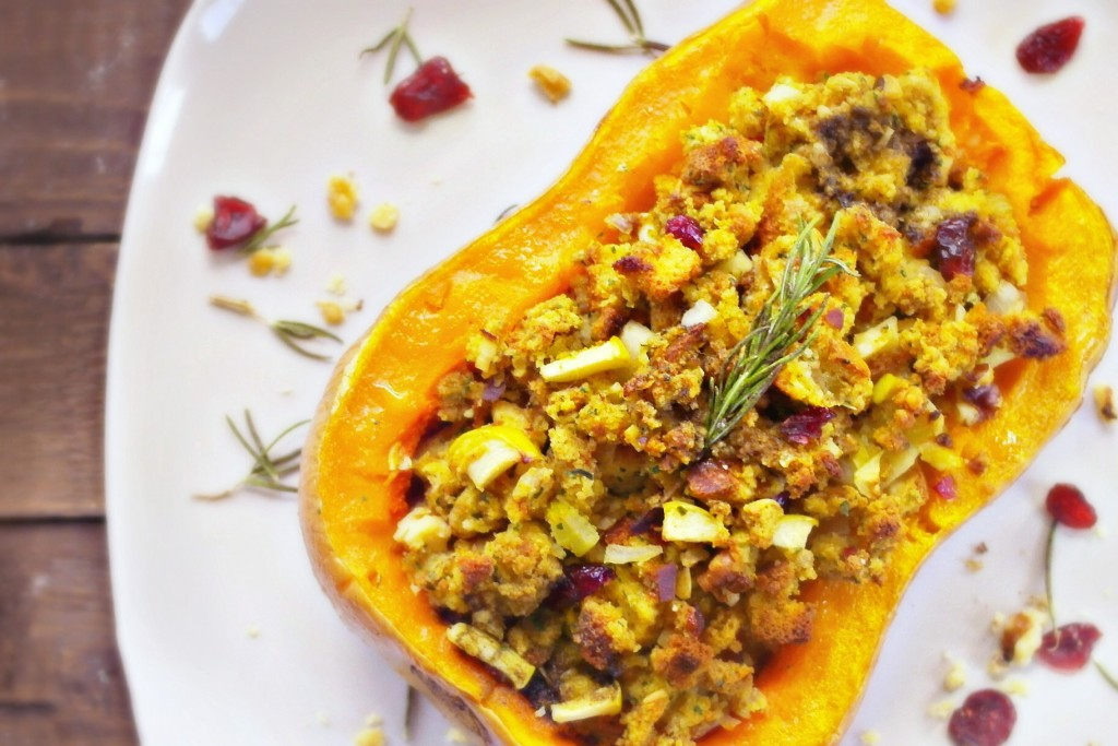 Savory cranberry walnut stuffed butternut squash - put this on your Thanksgiving table now!