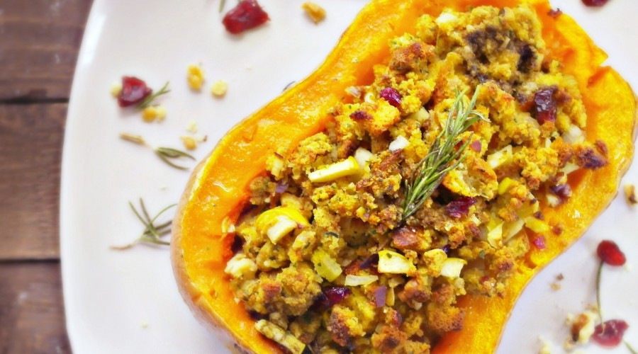 Roasted Butternut Squash with Cranberry-Apple Walnut Stuffing