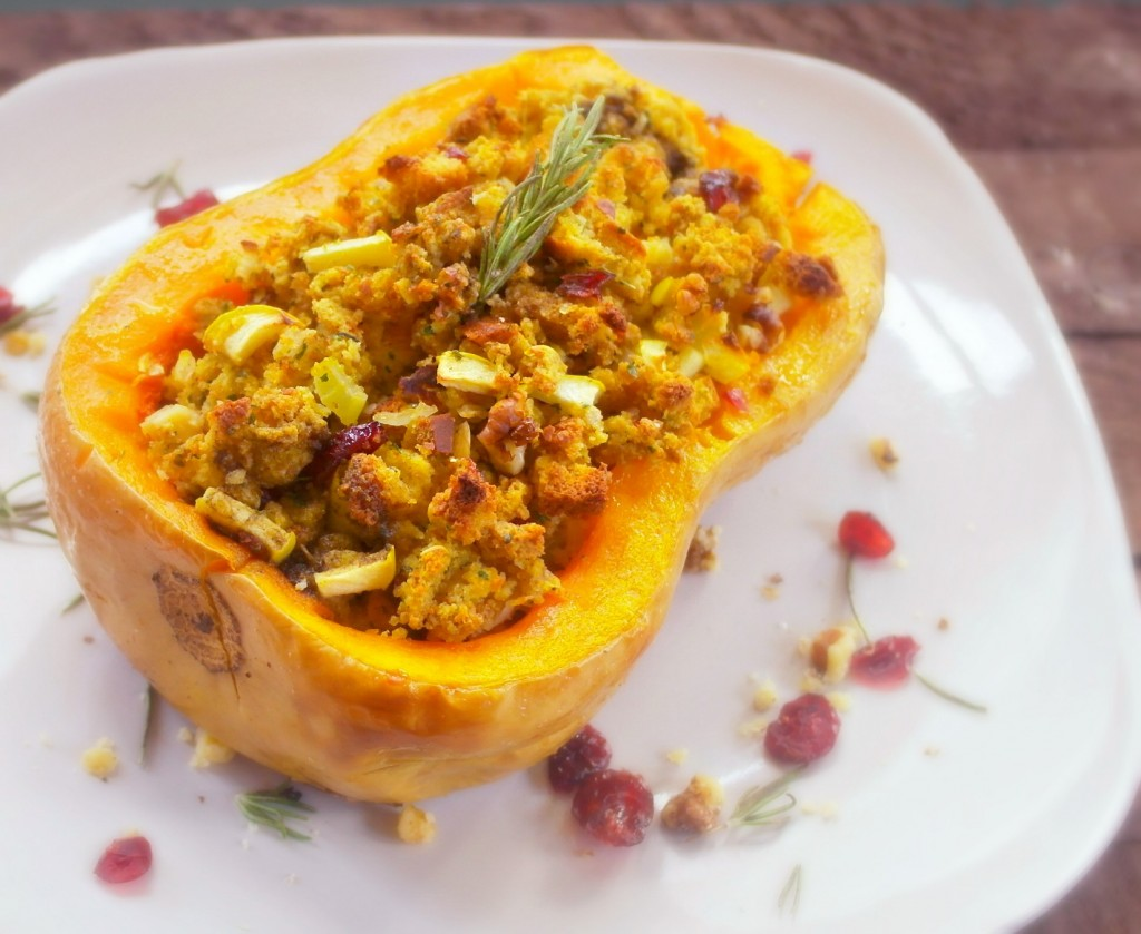 A stuffed squashed filled with savory cranberry walnut stuffing, what a great looking dish for the holidays!