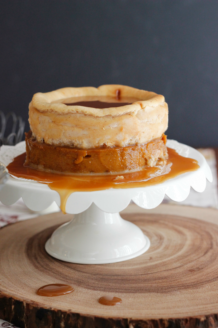 A two-layer salted caramel cheesecake! Pumpkin pie on the bottom, maple cinnamon cheesecake on the top -- oh my!!