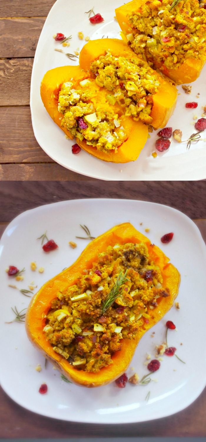 Gorgeous addition to any holiday meal or family get together -- a roasted butternut squash filled with cranberry-apple walnut stuffing and drizzled with sage butter (yum!!)