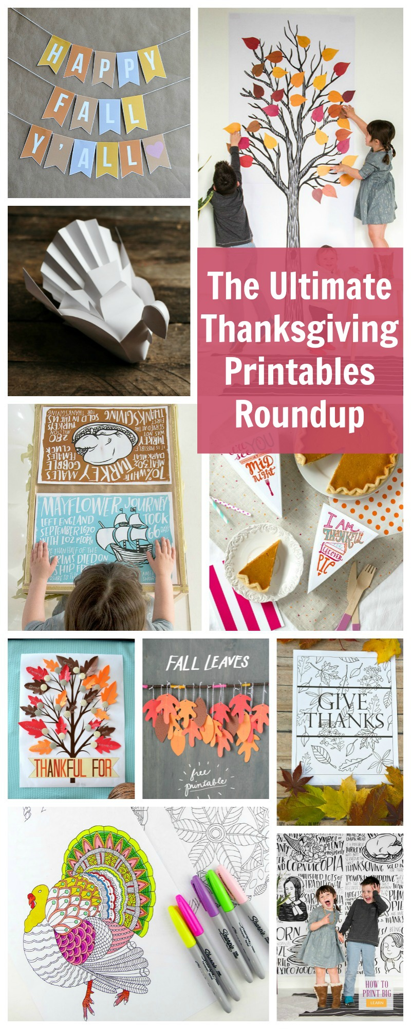 so many great downloads and printables, everything you need to decorate and keep kids entertained for Thanksgiving