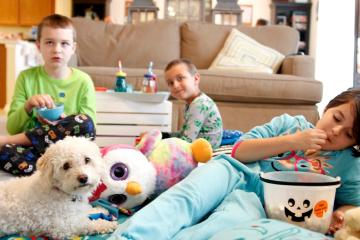 Pallets on the floor!! Our favorite way to enjoy family movie night