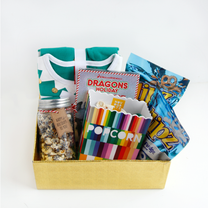 Family Movie Night Gift Box!!! Why didnt I think of that, tuck in popcorn, candy, even redox gift certificates or gift cards so they can choose their own movies