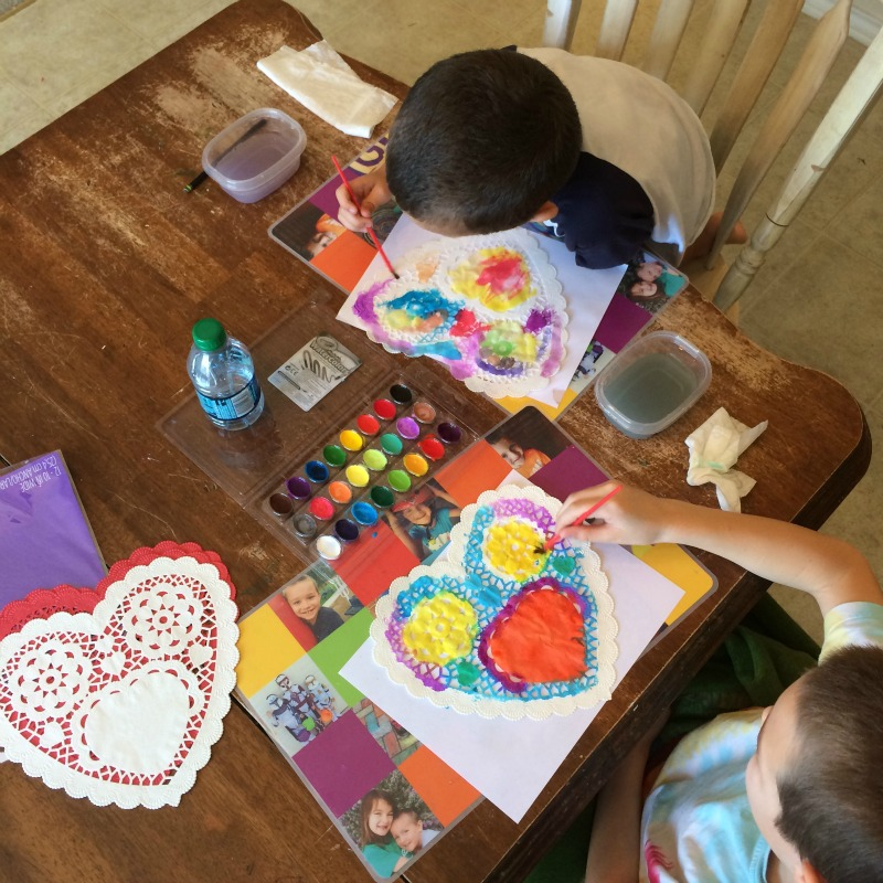Simple Valentines Ideas -- paint inexpensive doilies with watercolors to make beautiful handmade Valentines