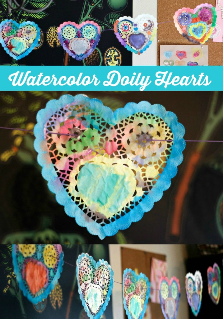 Love this! watercolor heart garland made with inexpensive heart doilies from the dollar store